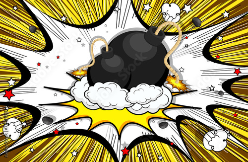Retro Bomb Clouds Burst Background
