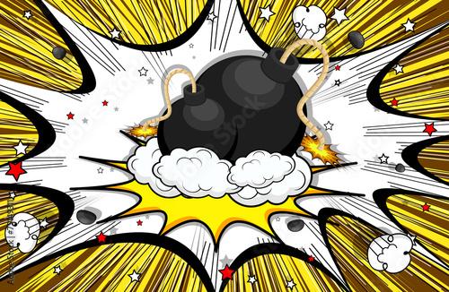 Retro Bomb Clouds Burst Background - 79149311