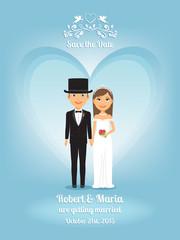Cute cartoon bride and groom on wedding invitation