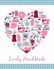 Lovely handmade. Heart shape sign of sewing, knitting