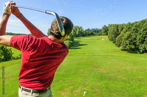 Fotobehang Golf Abschlag mit dem Eisen