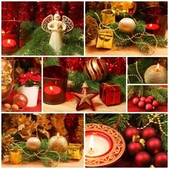 Red and golden Christmas collage