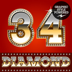 Luxury font in gold color with diamond border. Numbers 3 4