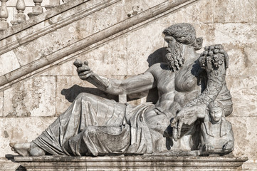 Horn of plenty statue in the ancient city of Rome