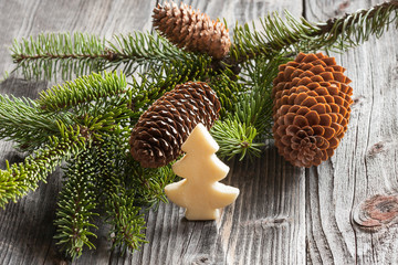 Christmas fir tree and cones on wood background