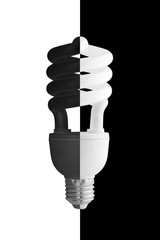 Energy saving lamp. The black-and-white. Isolated