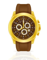 gold mechanical wristwatch watch with leather strap vector illus