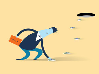 Concept vector illustration with business man cartoon character