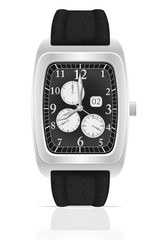 silver mechanical wristwatch watch with leather strap vector ill