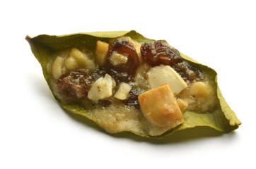 Lemon leaf with honey almonds nuts raisins