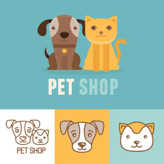 Vector dog and cat icons and logos
