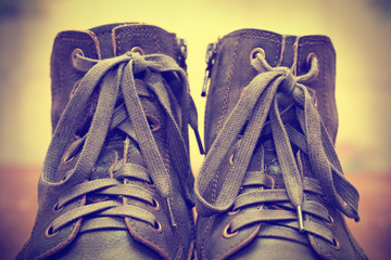 men's shoes with laces close up
