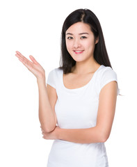 Asian woman with hand presentation