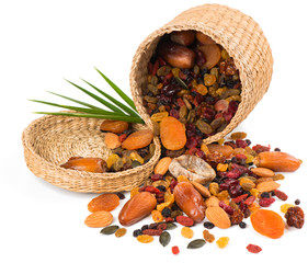 nuts and dried fruits mix in a basket