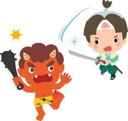 桃太郎と赤鬼の対決