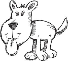 Doodle Sketch Puppy Dog Vector Illustration Art