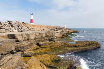 Rocky coast Portland Bill Lighthouse Isle of Portland Dorset UK