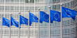 Leinwanddruck Bild - European flags in Brussels