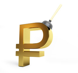 plunger russian ruble sign on a white background