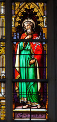 Stained glass window of Saint Joseph in Brussel Cathedral