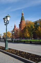 Alexander Garden and Moscow kremlin in autumn day in Moscow