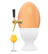 Leinwandbild Motiv Ei, Hühnerei mit Zapfhahn und Eierbecher, freigestellt