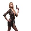 Leinwanddruck Bild - elegant fashionable woman with a gun in hands