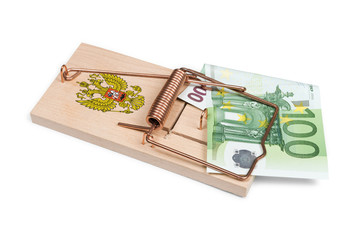 Russian mouse trap with Euro bill isolated over white with clipp