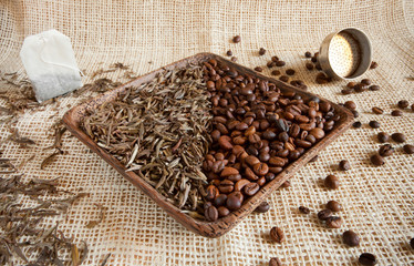 dried tea leaves and roasted coffee beans: theine vs caffeine