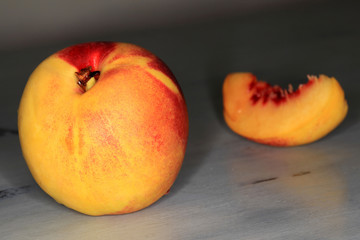 Nectarines on grey table