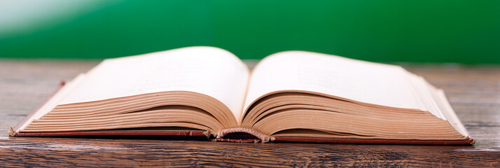 Open book on a green background in a panoramic format
