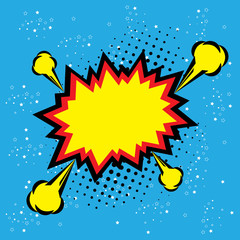explosion steam bubble pop-art vector - funny funky banner comic
