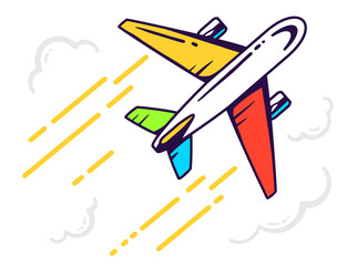 Vector illustration of colorful airplane flying right up among t