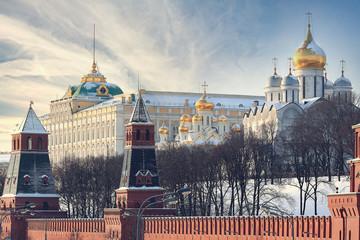 Moscow Kremlin Cathedral winter landscape embankment