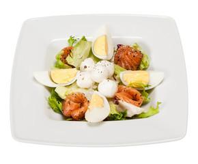 salad with lettuce, marinated salmon, mozzarella balls, egg, oli