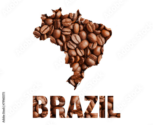 Canvas Granen Brazil map and word coffee beans isolated on white