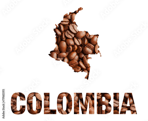 Colombia map and word coffee beans isolated on white