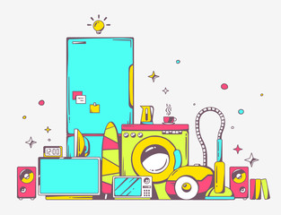 Vector illustration of large pile of bright household appliances