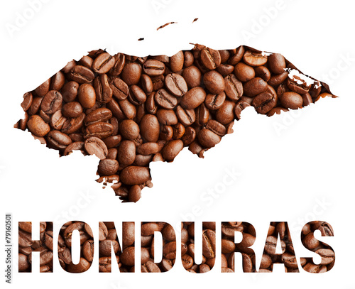 Plexiglas Granen Honduras map and word coffee beans isolated on white