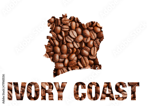 Aluminium Granen Ivory Coast map and word coffee beans isolated on white