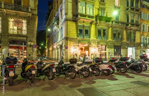 Papiers peints Milan Old street in Milan at night, Italy