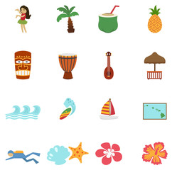 tropical hawaii island and beach icons
