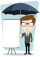 Young businessman with a poster and an umbrella, vector