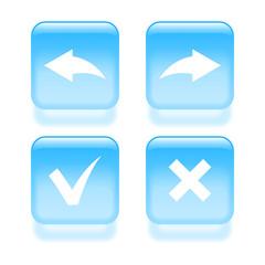 Glassy undo and redo icons. Vector illustration
