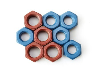 Xylan bolt and nut in blue and red coated with PTFE