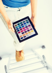 woman working with color sample app