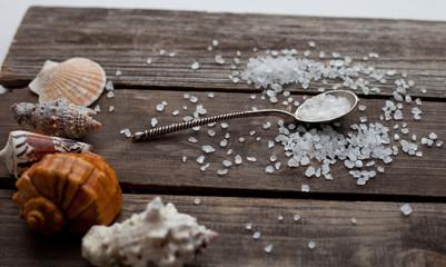 sea salt crystals in a silver spoon