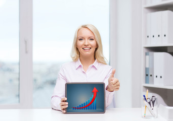 smiling businesswoman or student with tablet pc