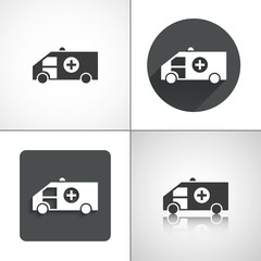 Ambulance icons. Set elements for design.