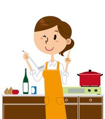 女性 料理 エプロン